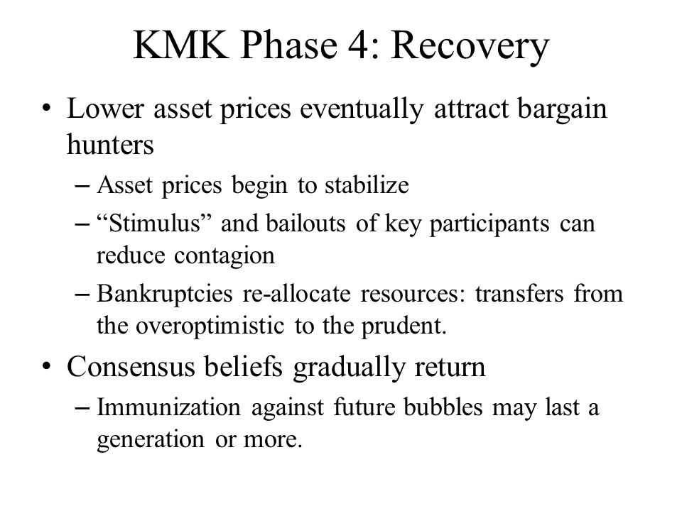 KMK Phase 3: Revulsion Eventually the supply of dazzled investors (and financial innovation) runs dry. – 1/90 in Japan, 2/00 in Silicon Valley, 6/07 i