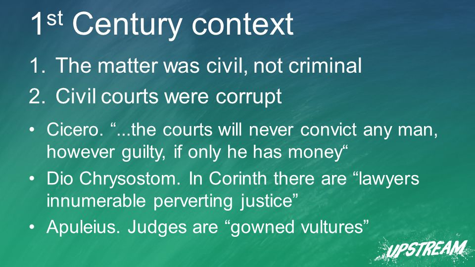 1 st Century context 1.The matter was civil, not criminal 2.Civil courts were corrupt Cicero.