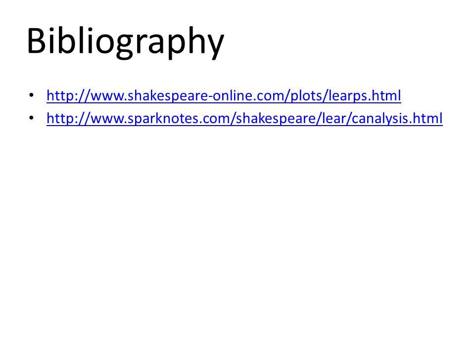 http://www.shakespeare-online.com/plots/learps.html http://www.sparknotes.com/shakespeare/lear/canalysis.html Bibliography