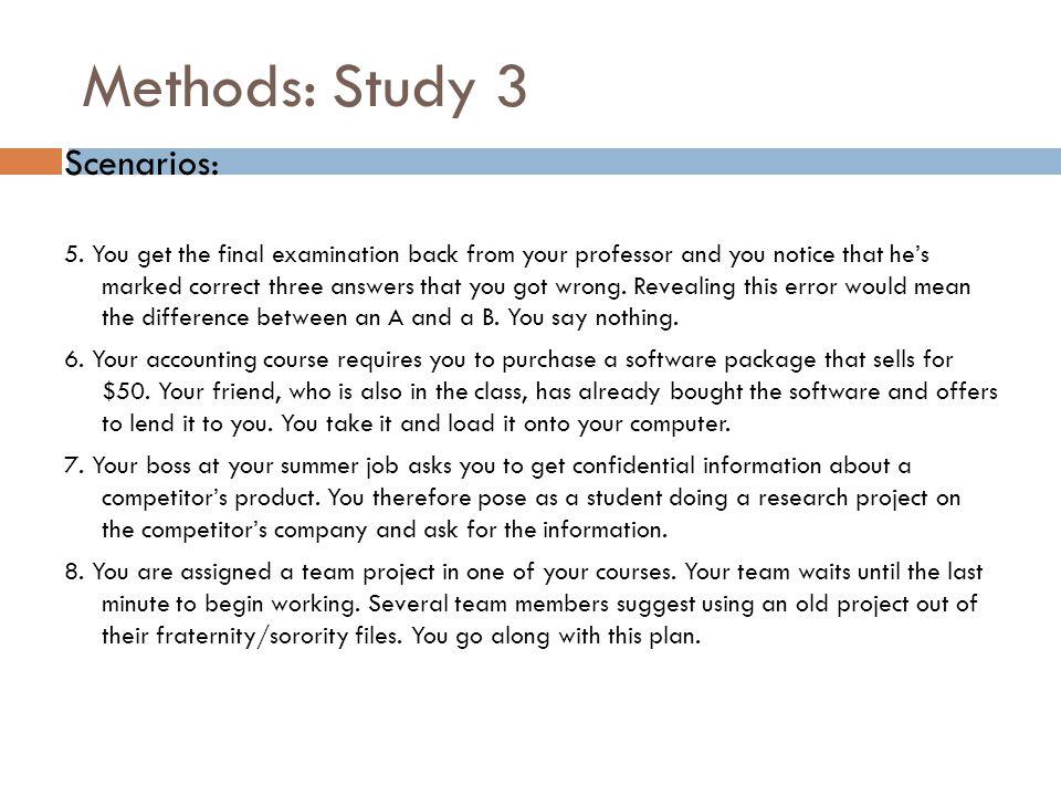 Methods: Study 3 Scenarios: 5.