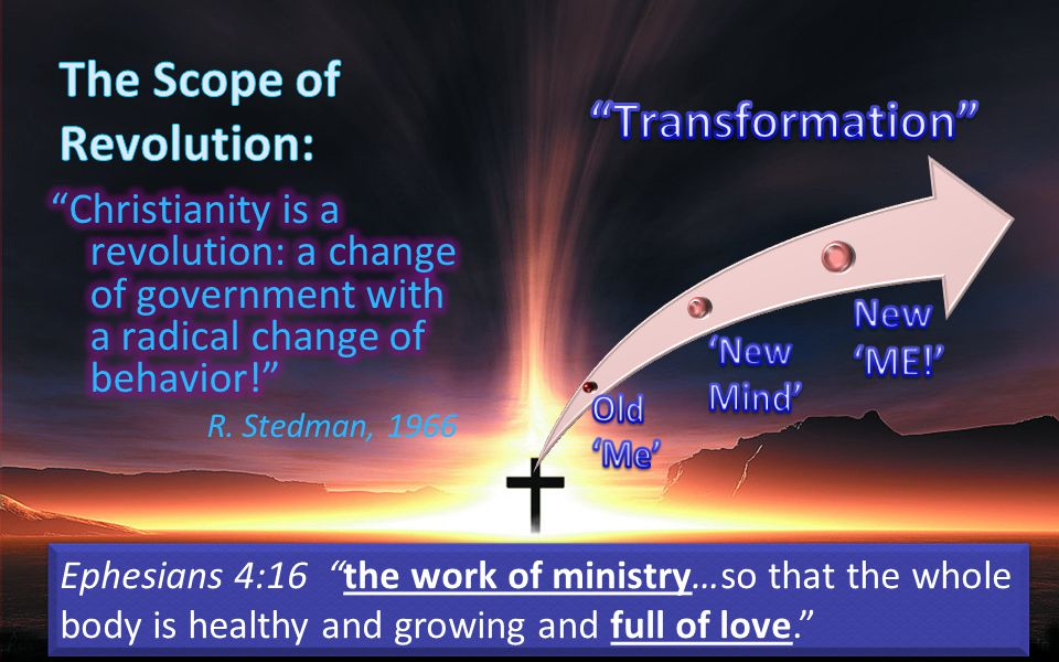 Ephesians 4:16 the work of ministry…so that the whole body is healthy and growing and full of love.