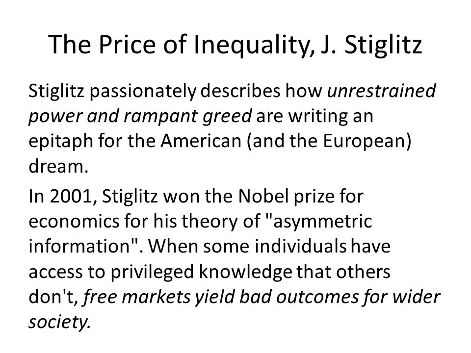 The Price of Inequality, J.