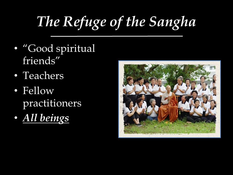 The Refuge of the Sangha Good spiritual friends Teachers Fellow practitioners All beings