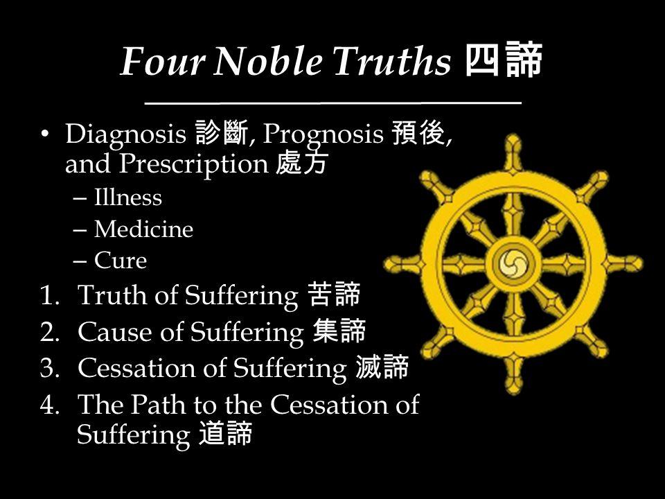 Four Noble Truths 四諦 Diagnosis 診斷, Prognosis 預後, and Prescription 處方 – Illness – Medicine – Cure 1.Truth of Suffering 苦諦 2.Cause of Suffering 集諦 3.Ces