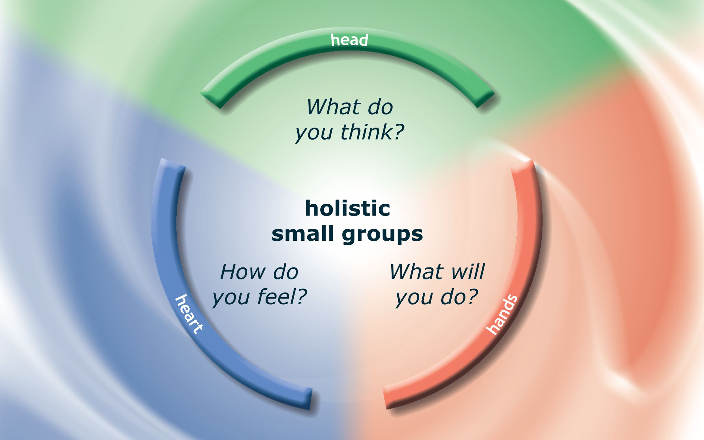 holistic small groups What do you think? What will you do? How do you feel?