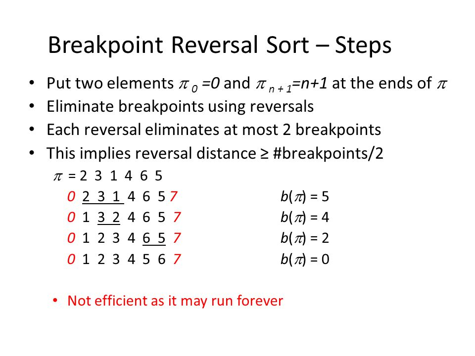 Breakpoint Reversal Sort – Steps Put two elements  0 =0 and  n + 1 =n+1 at the ends of  Eliminate breakpoints using reversals Each reversal eliminates at most 2 breakpoints This implies reversal distance ≥ #breakpoints/2  = 2 3 1 4 6 5 0 2 3 1 4 6 5 7 b(  ) = 5 0 1 3 2 4 6 5 7 b(  ) = 4 0 1 2 3 4 6 5 7 b(  ) = 2 0 1 2 3 4 5 6 7 b(  ) = 0 Not efficient as it may run forever