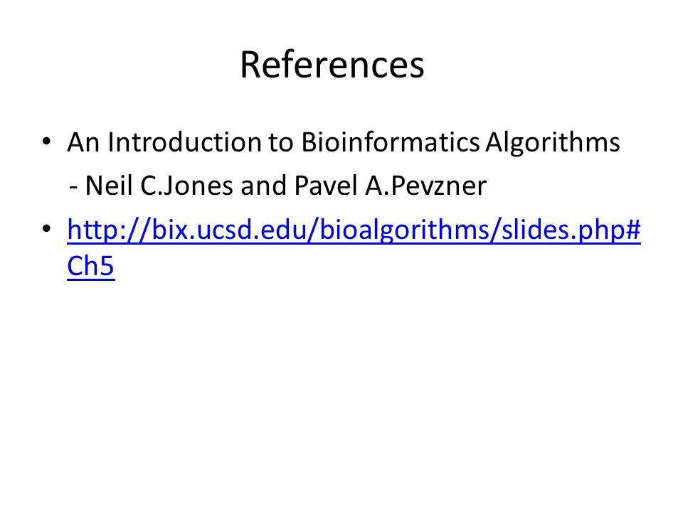 References An Introduction to Bioinformatics Algorithms - Neil C.Jones and Pavel A.Pevzner http://bix.ucsd.edu/bioalgorithms/slides.php# Ch5 http://bix.ucsd.edu/bioalgorithms/slides.php# Ch5