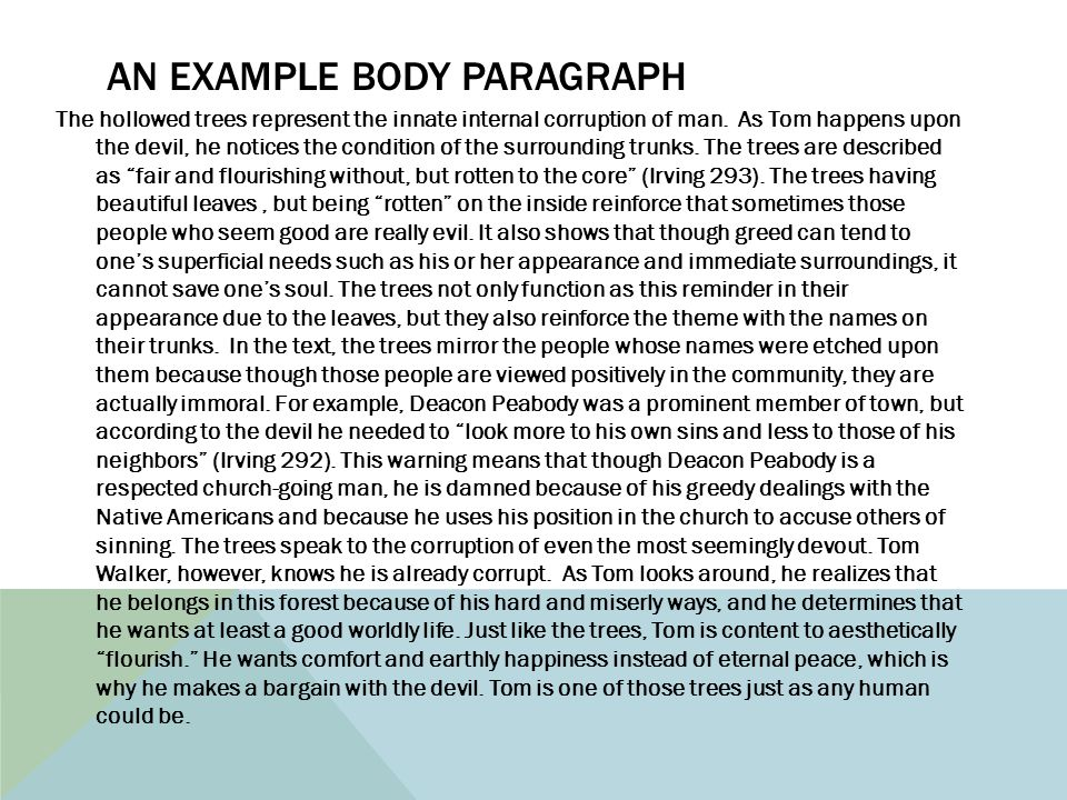 AN EXAMPLE BODY PARAGRAPH The hollowed trees represent the innate internal corruption of man.