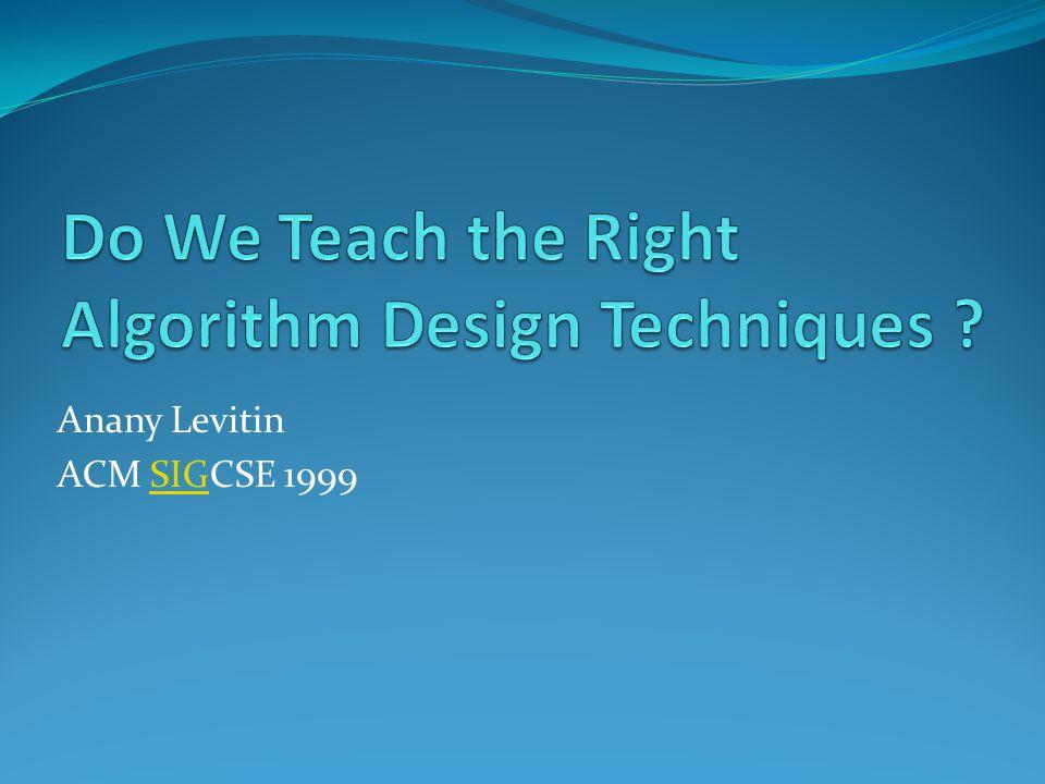 Anany Levitin ACM SIGCSE 1999SIG
