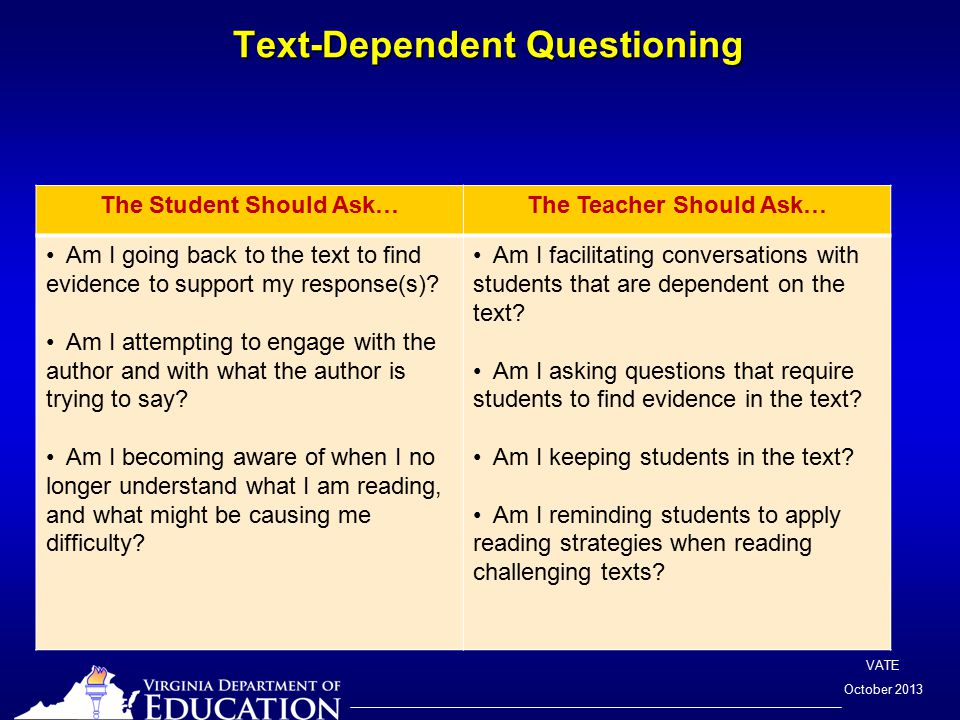 VATE October 2013 The Student Should Ask…The Teacher Should Ask… Am I going back to the text to find evidence to support my response(s).