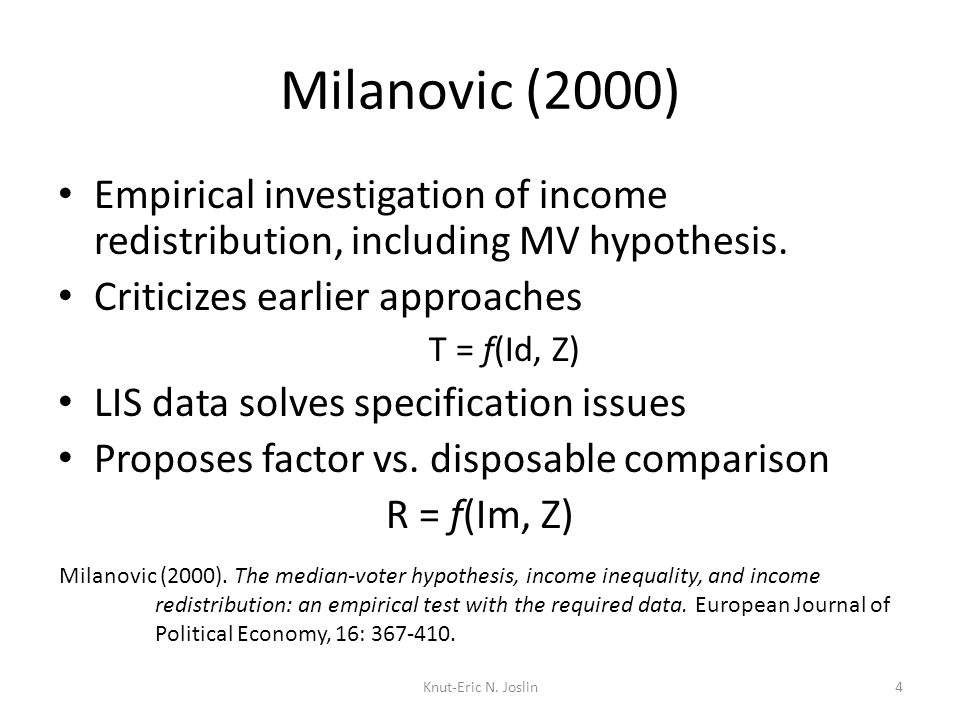 Milanovic (2000) Empirical investigation of income redistribution, including MV hypothesis.