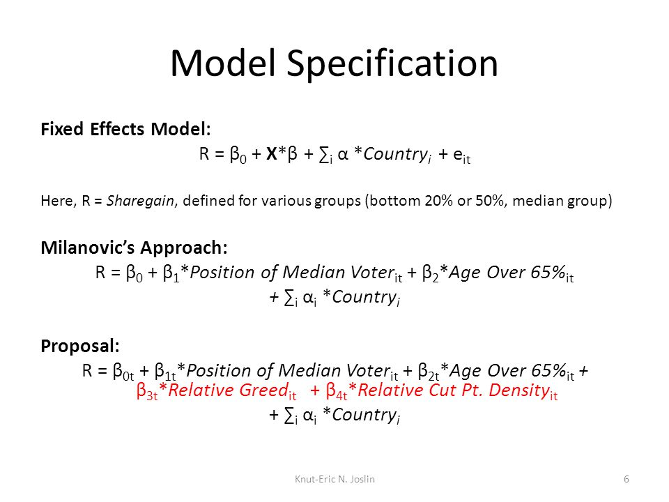 Model Specification Fixed Effects Model: R = β 0 + X*β + ∑ i α *Country i + e it Here, R = Sharegain, defined for various groups (bottom 20% or 50%, median group) Milanovic's Approach: R = β 0 + β 1 *Position of Median Voter it + β 2 *Age Over 65% it + ∑ i α i *Country i Proposal: R = β 0t + β 1t *Position of Median Voter it + β 2t *Age Over 65% it + β 3t *Relative Greed it + β 4t *Relative Cut Pt.