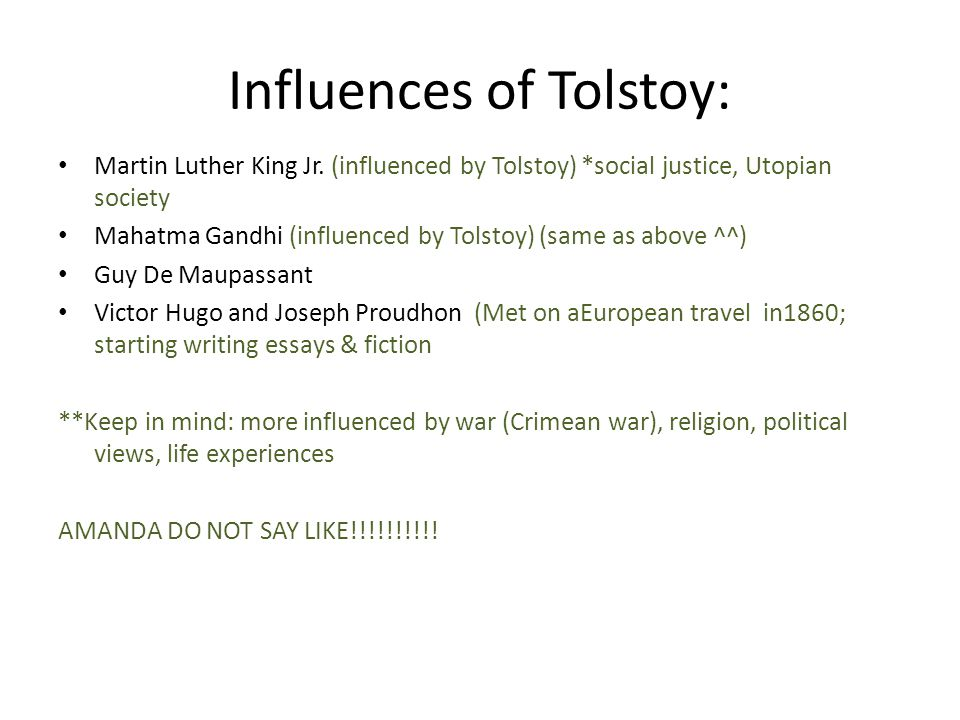 Influences of Tolstoy: Martin Luther King Jr.