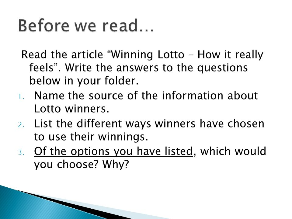 Read the article Winning Lotto – How it really feels .
