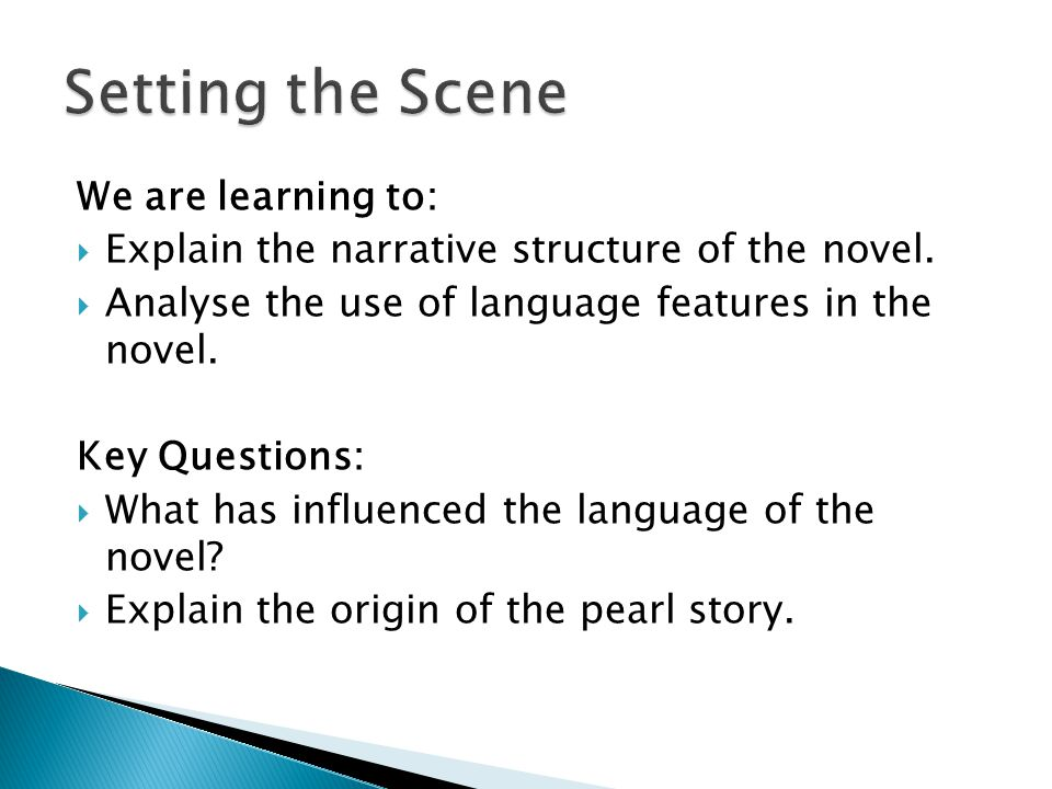 We are learning to:  Explain the narrative structure of the novel.