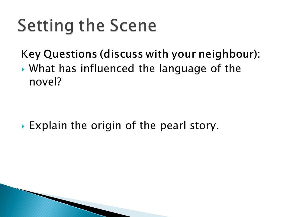 Key Questions (discuss with your neighbour):  What has influenced the language of the novel.