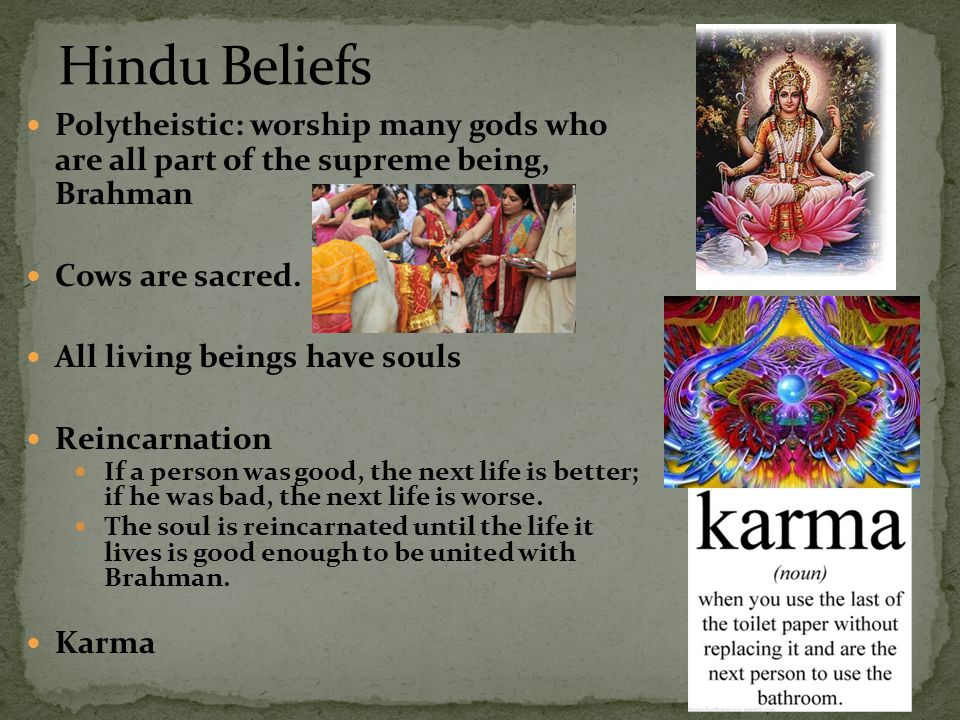 Polytheistic: worship many gods who are all part of the supreme being, Brahman Cows are sacred. All living beings have souls Reincarnation If a person