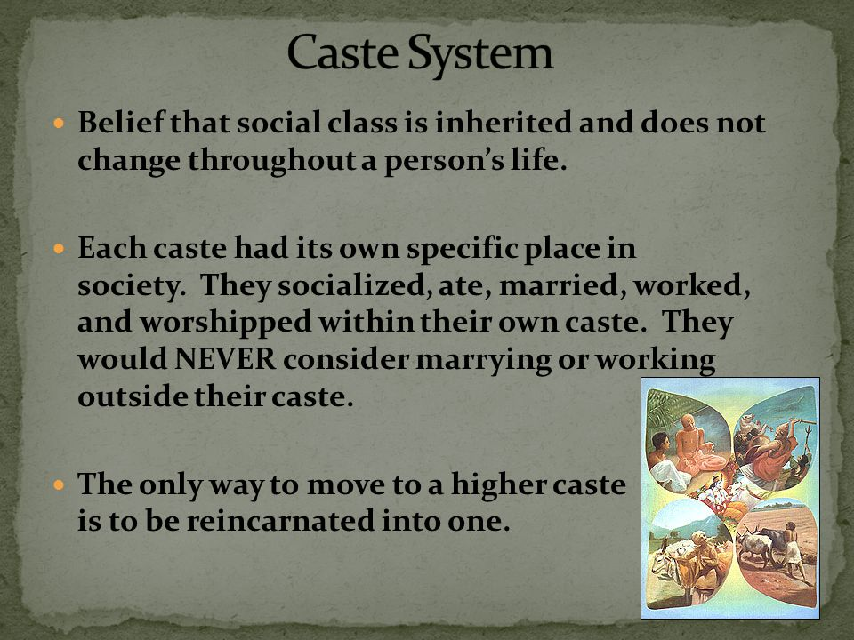 Belief that social class is inherited and does not change throughout a person's life. Each caste had its own specific place in society. They socialize