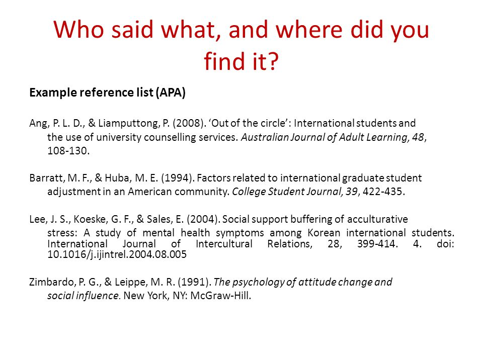 Who said what, and where did you find it? Example reference list (APA) Ang, P. L. D., & Liamputtong, P. (2008). 'Out of the circle': International stu