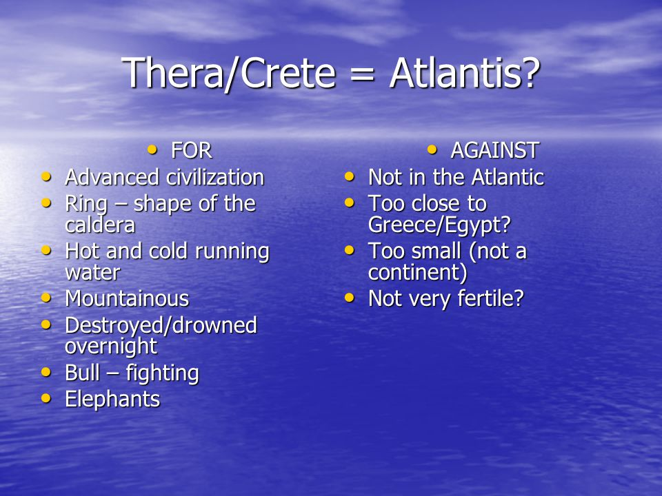 Thera/Crete = Atlantis.