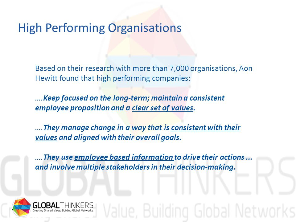 High Performing Organisations Based on their research with more than 7,000 organisations, Aon Hewitt found that high performing companies: ….Keep focused on the long-term; maintain a consistent employee proposition and a clear set of values.