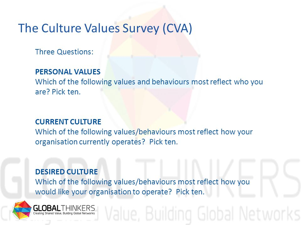 The Culture Values Survey (CVA) Three Questions: PERSONAL VALUES Which of the following values and behaviours most reflect who you are.
