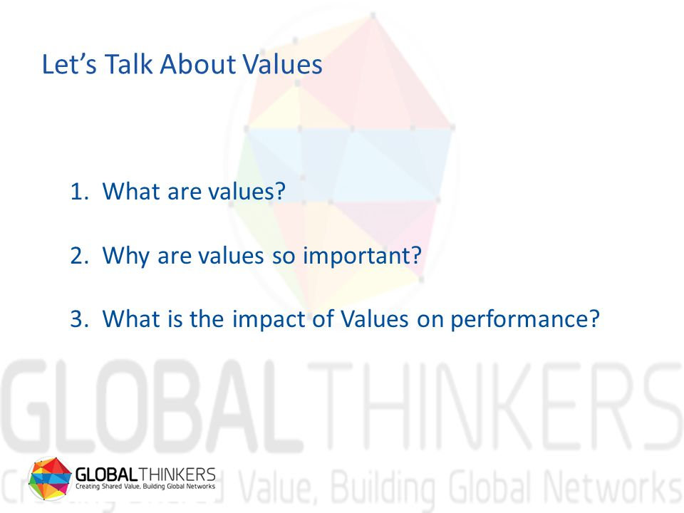 Let's Talk About Values 1. What are values. 2. Why are values so important.