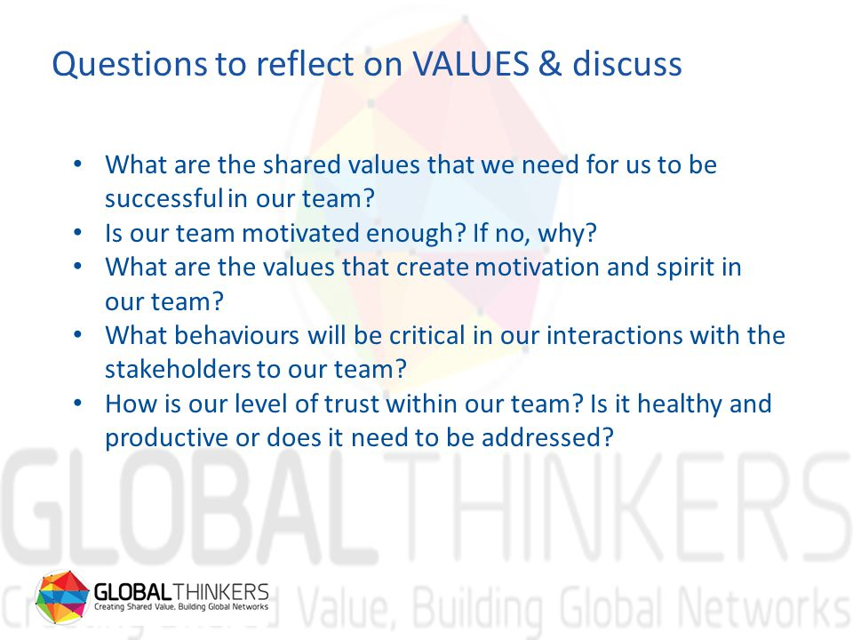 Questions to reflect on VALUES & discuss What are the shared values that we need for us to be successful in our team.