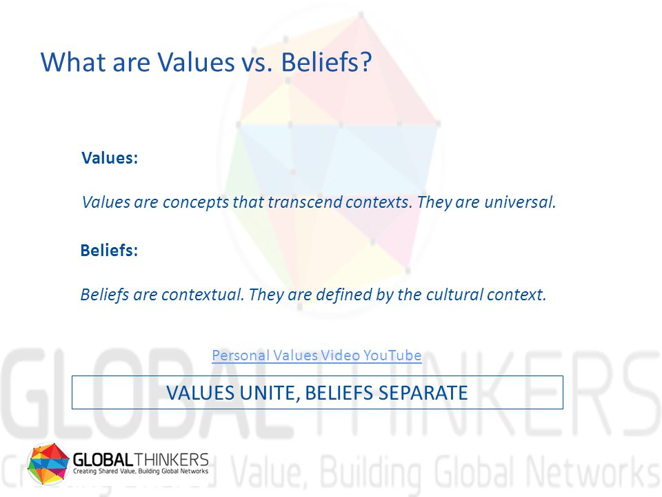 What are Values vs. Beliefs. Values: Values are concepts that transcend contexts.
