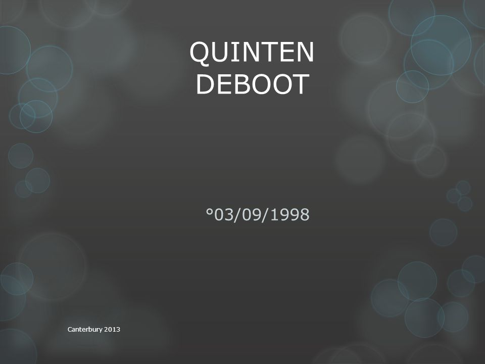 QUINTEN DEBOOT °03/09/1998 Canterbury 2013