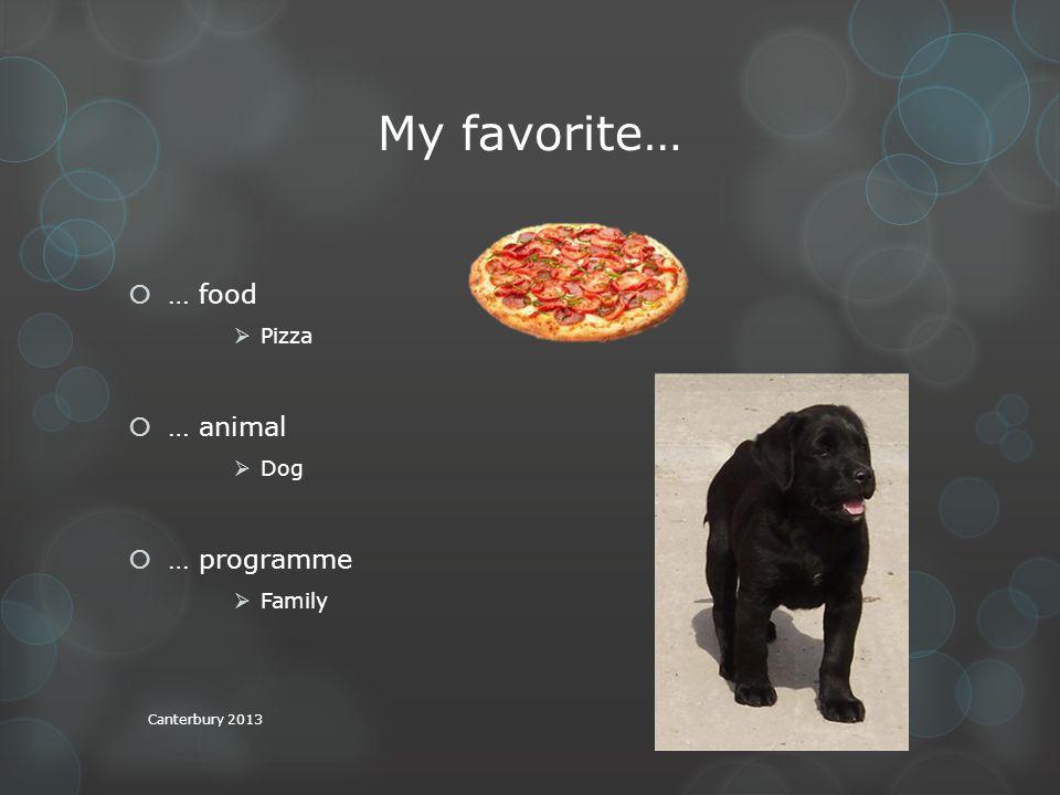 My favorite…  … food  Pizza  … animal  Dog  … programme  Family Canterbury 2013