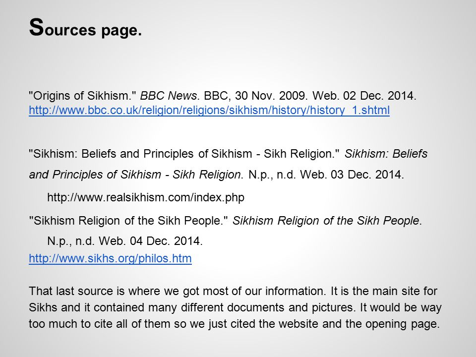 S ources page. Origins of Sikhism. BBC News. BBC, 30 Nov.