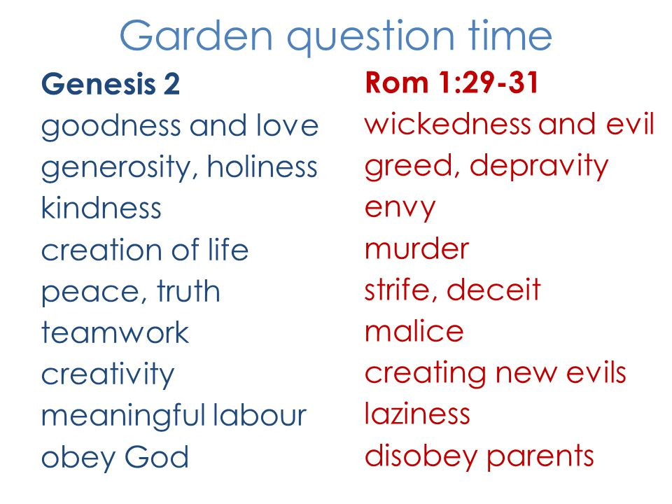 Garden question time Genesis 2 goodness and love generosity, holiness kindness creation of life peace, truth teamwork creativity meaningful labour obey God Rom 1:29-31 wickedness and evil greed, depravity envy murder strife, deceit malice creating new evils laziness disobey parents