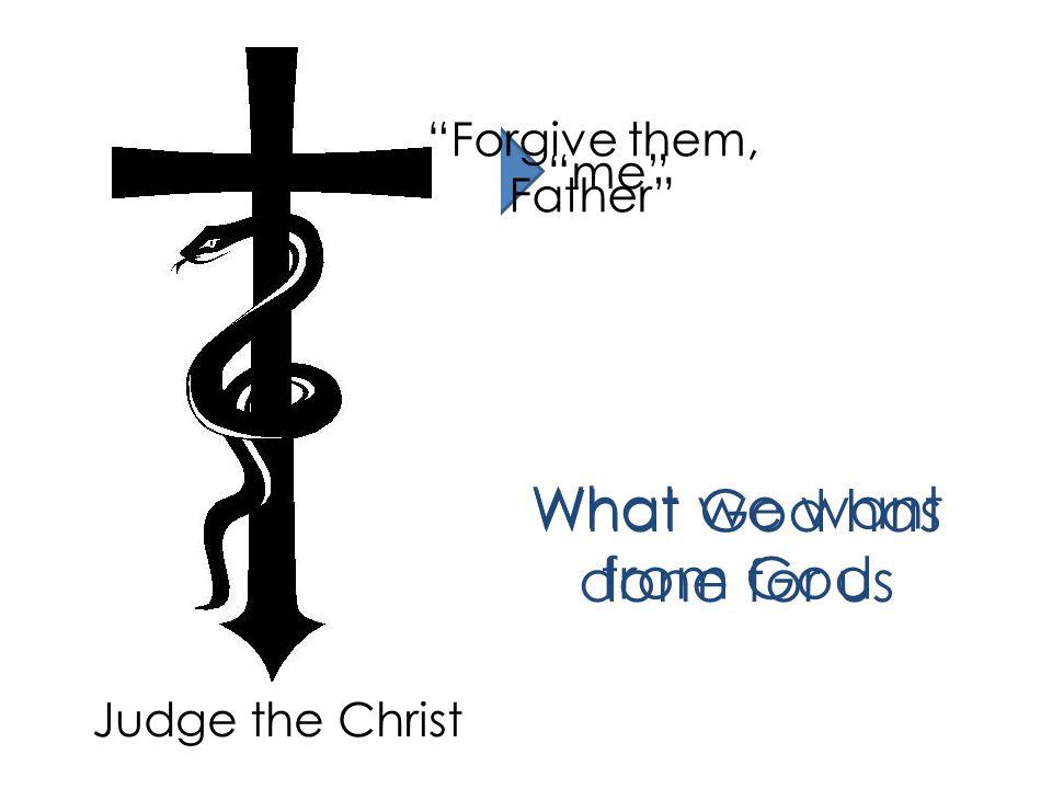 JudgeJudge them Forgive me What we want from God Judge the Christ Forgive them, Father What God has done for us