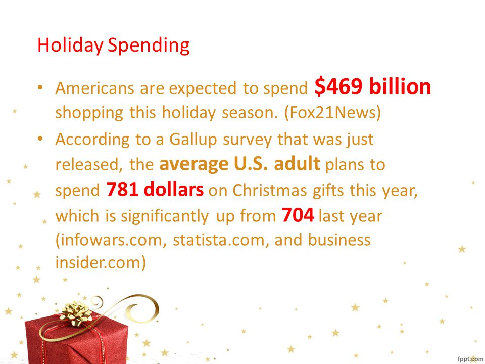 Forbes: Average Expense on Gifts Family members: $431 Themselves: $119.82 Friends: $94.52 Miscellaneous: $43.50 Co-workers: $26.70 Total: $750.68