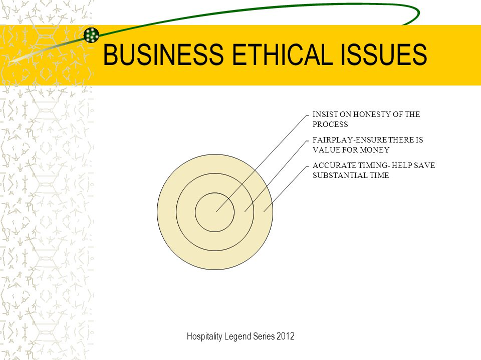 BUSINESS ETHICAL ISSUES INSIST ON HONESTY OF THE PROCESS FAIRPLAY-ENSURE THERE IS VALUE FOR MONEY ACCURATE TIMING- HELP SAVE SUBSTANTIAL TIME Hospital