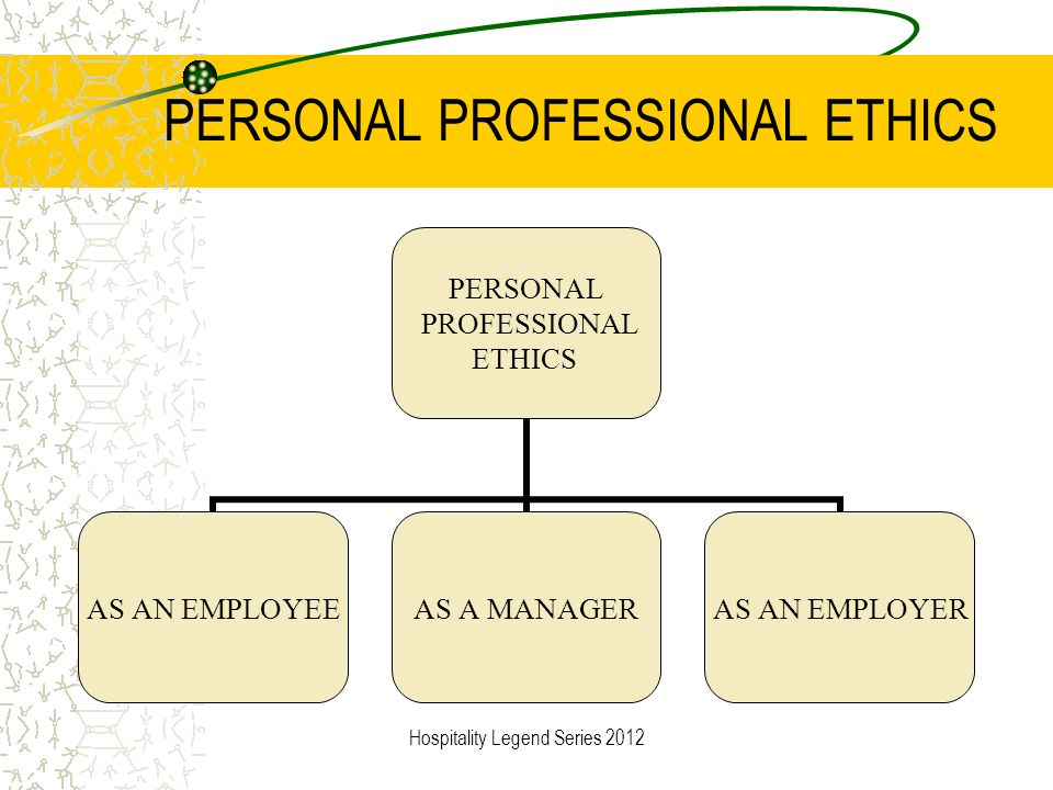 PERSONAL PROFESSIONAL ETHICS PERSONAL PROFESSIONAL ETHICS AS AN EMPLOYEEAS A MANAGERAS AN EMPLOYER Hospitality Legend Series 2012