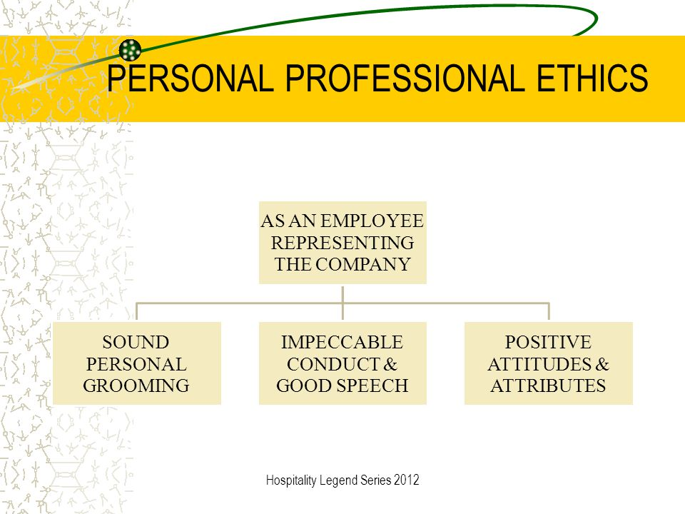 PERSONAL PROFESSIONAL ETHICS AS AN EMPLOYEE REPRESENTING THE COMPANY SOUND PERSONAL GROOMING IMPECCABLE CONDUCT & GOOD SPEECH POSITIVE ATTITUDES & ATT