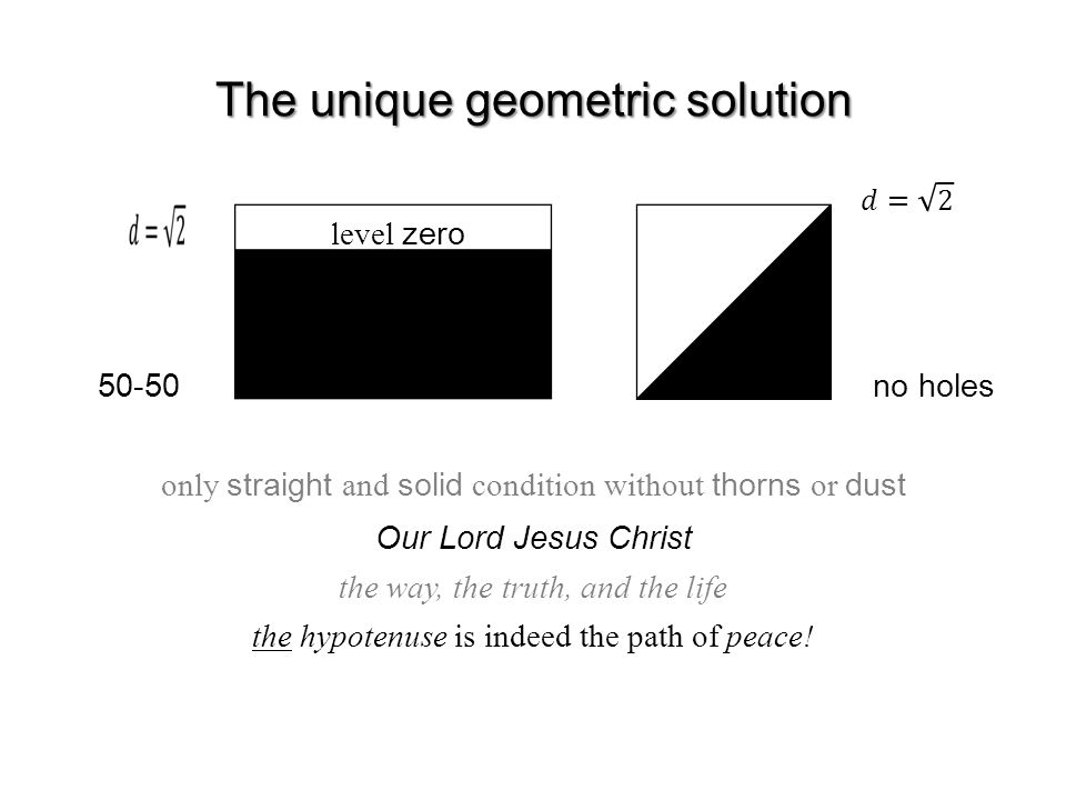 The unique geometric solution only straight and solid condition without thorns or dust 50-50 no holes level zero Our Lord Jesus Christ the way, the truth, and the life the hypotenuse is indeed the path of peace!