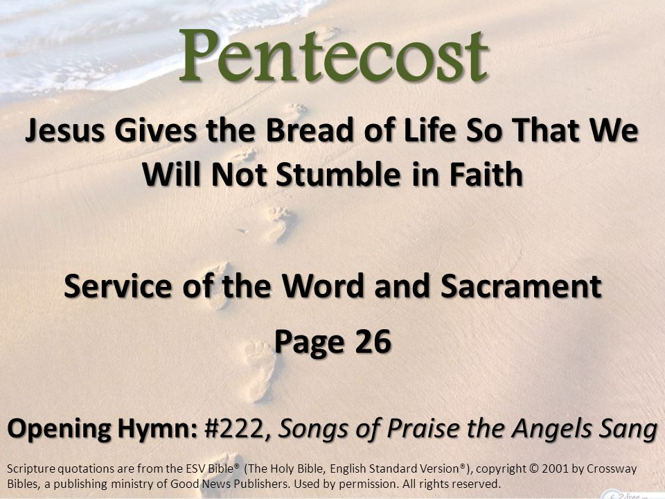 Pentecost Jesus Gives the Bread of Life So That We Will Not Stumble in Faith Service of the Word and Sacrament Page 26 Opening Hymn: #222, Songs of Praise the Angels Sang Scripture quotations are from the ESV Bible® (The Holy Bible, English Standard Version®), copyright © 2001 by Crossway Bibles, a publishing ministry of Good News Publishers.