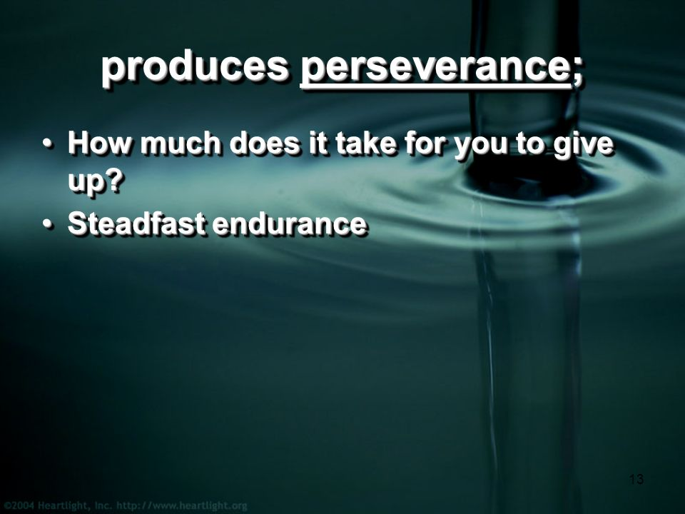 13 produces perseverance; How much does it take for you to give up How much does it take for you to give up.