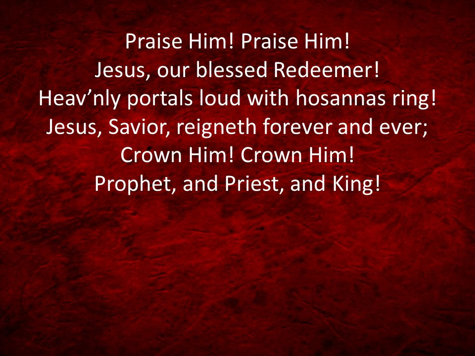 Christ is coming! over the world victorious, Pow'r and glory unto the Lord belong.