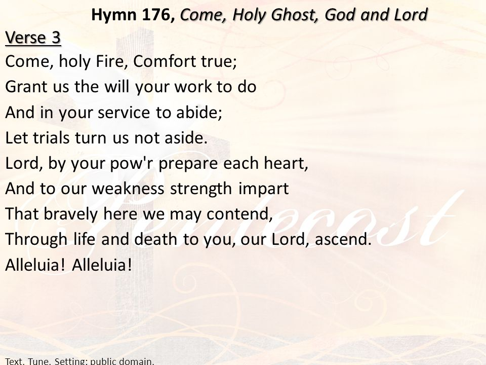 Come, Holy Ghost, God and Lord Hymn 176, Come, Holy Ghost, God and Lord Verse 3 Come, holy Fire, Comfort true; Grant us the will your work to do And i