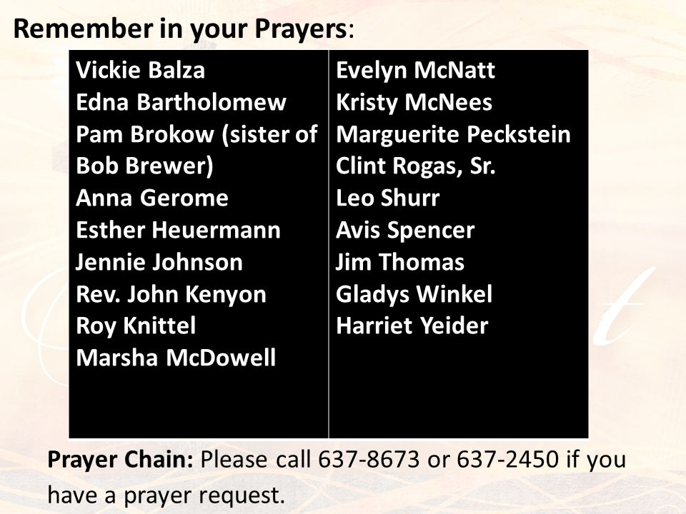 Remember in your Prayers: Prayer Chain: Please call 637-8673 or 637-2450 if you have a prayer request. Vickie Balza Edna Bartholomew Pam Brokow (siste