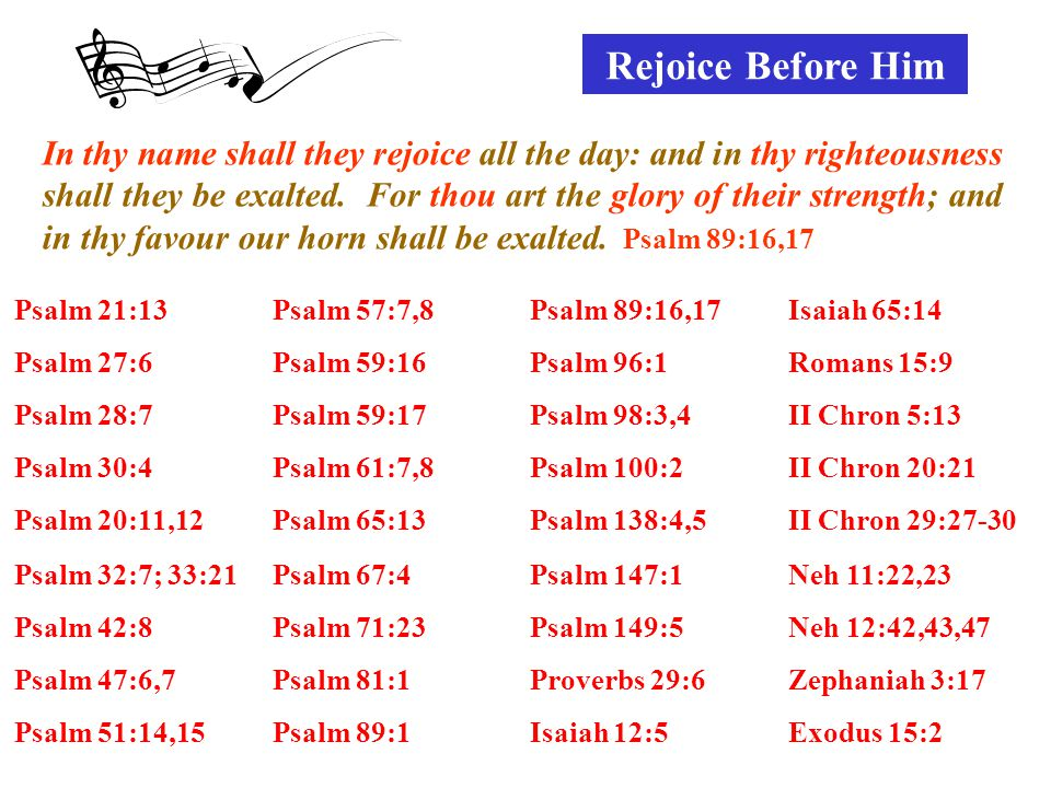 Rejoice Before Him Psalm 21:13Psalm 57:7,8Psalm 89:16,17Isaiah 65:14 Psalm 27:6Psalm 59:16Psalm 96:1Romans 15:9 Psalm 28:7Psalm 59:17Psalm 98:3,4II Chron 5:13 Psalm 30:4Psalm 61:7,8Psalm 100:2II Chron 20:21 Psalm 20:11,12Psalm 65:13Psalm 138:4,5II Chron 29:27-30 Psalm 32:7; 33:21Psalm 67:4Psalm 147:1Neh 11:22,23 Psalm 42:8Psalm 71:23Psalm 149:5Neh 12:42,43,47 Psalm 47:6,7Psalm 81:1Proverbs 29:6Zephaniah 3:17 Psalm 51:14,15Psalm 89:1Isaiah 12:5Exodus 15:2 In thy name shall they rejoice all the day: and in thy righteousness shall they be exalted.