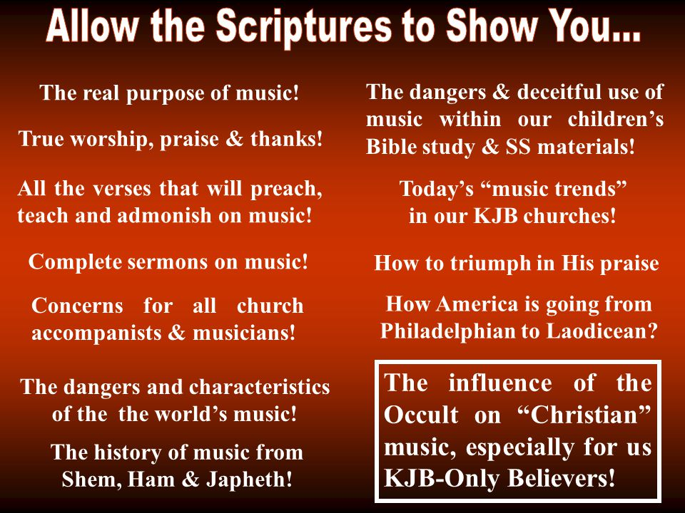 The real purpose of music. All the verses that will preach, teach and admonish on music.