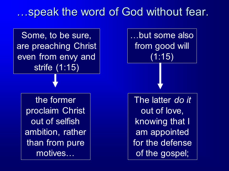 …speak the word of God without fear.