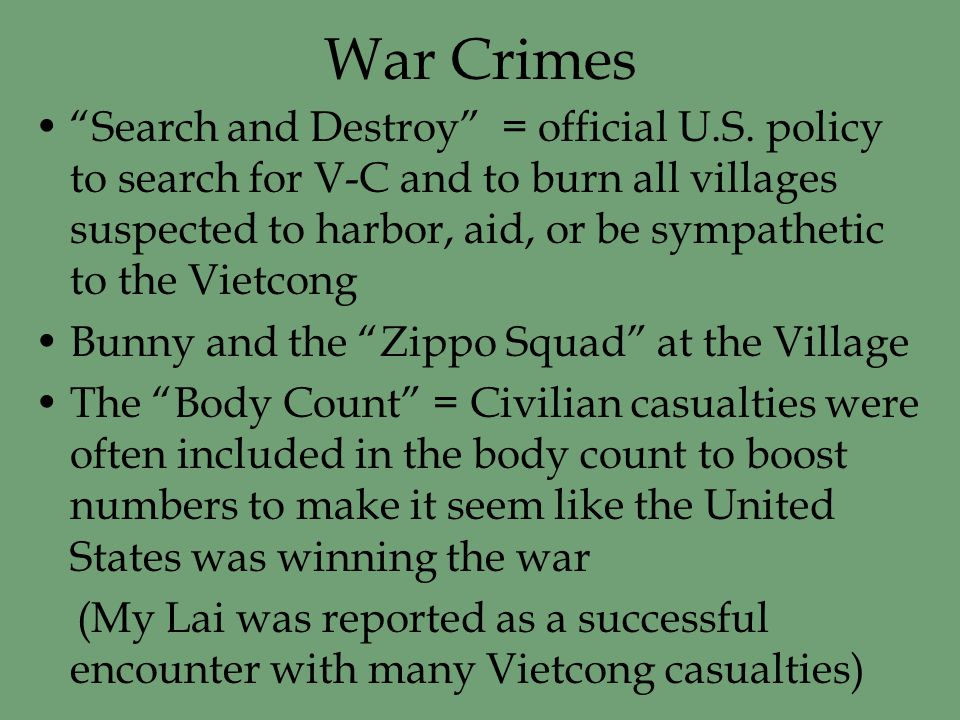 War Crimes Search and Destroy = official U.S.