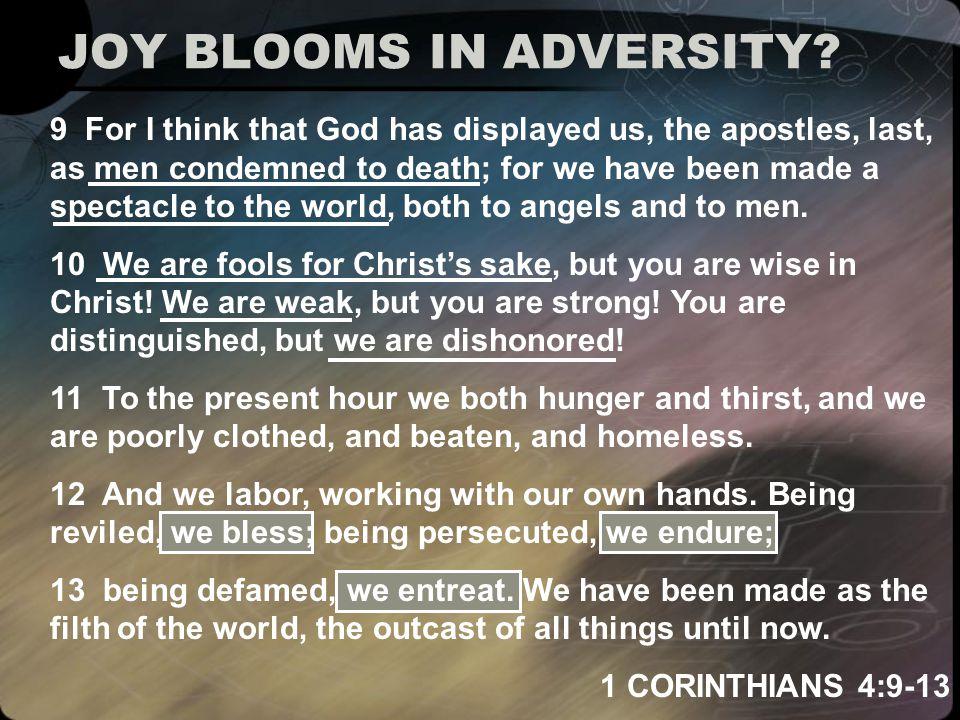 JOY BLOOMS IN ADVERSITY.