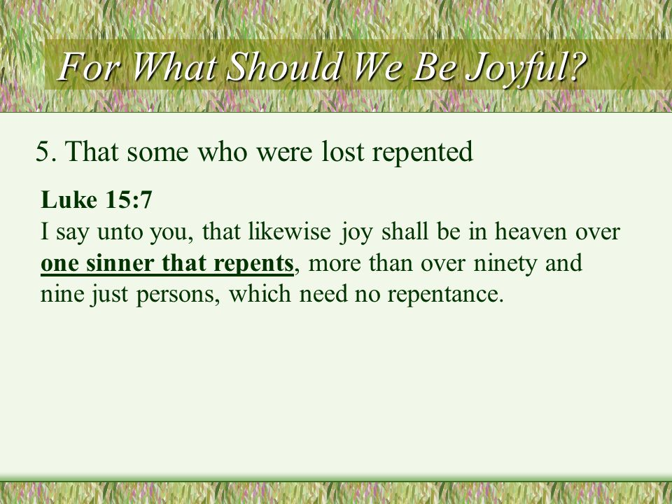 For What Should We Be Joyful. 5.